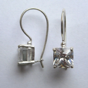 7mm Princess cut Square Cubic Zirconia Wire drop Silver Earrings